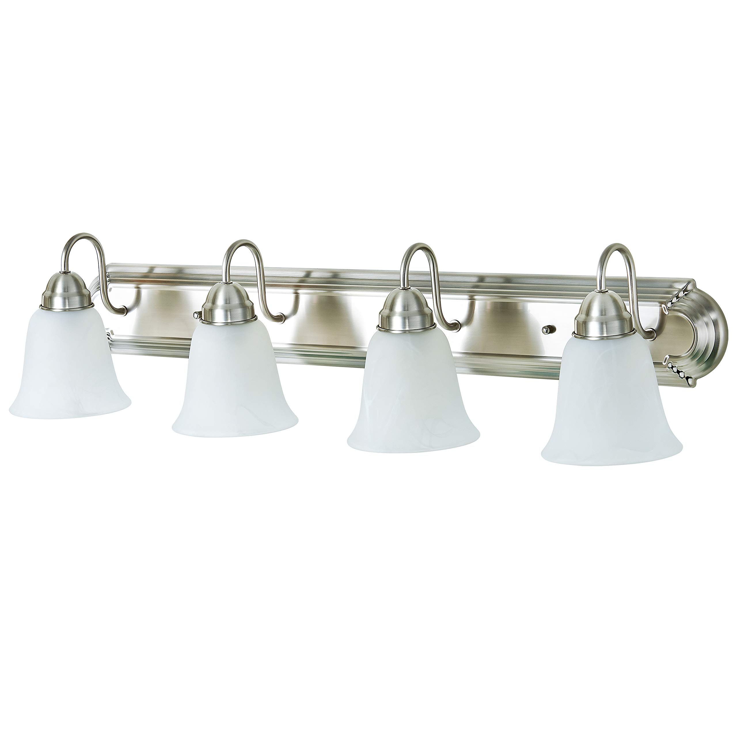 Kingbrite 4 Bulb E26 Vanity Light Fixture For Bathroom Brushed Nickel Alabaster Ebay