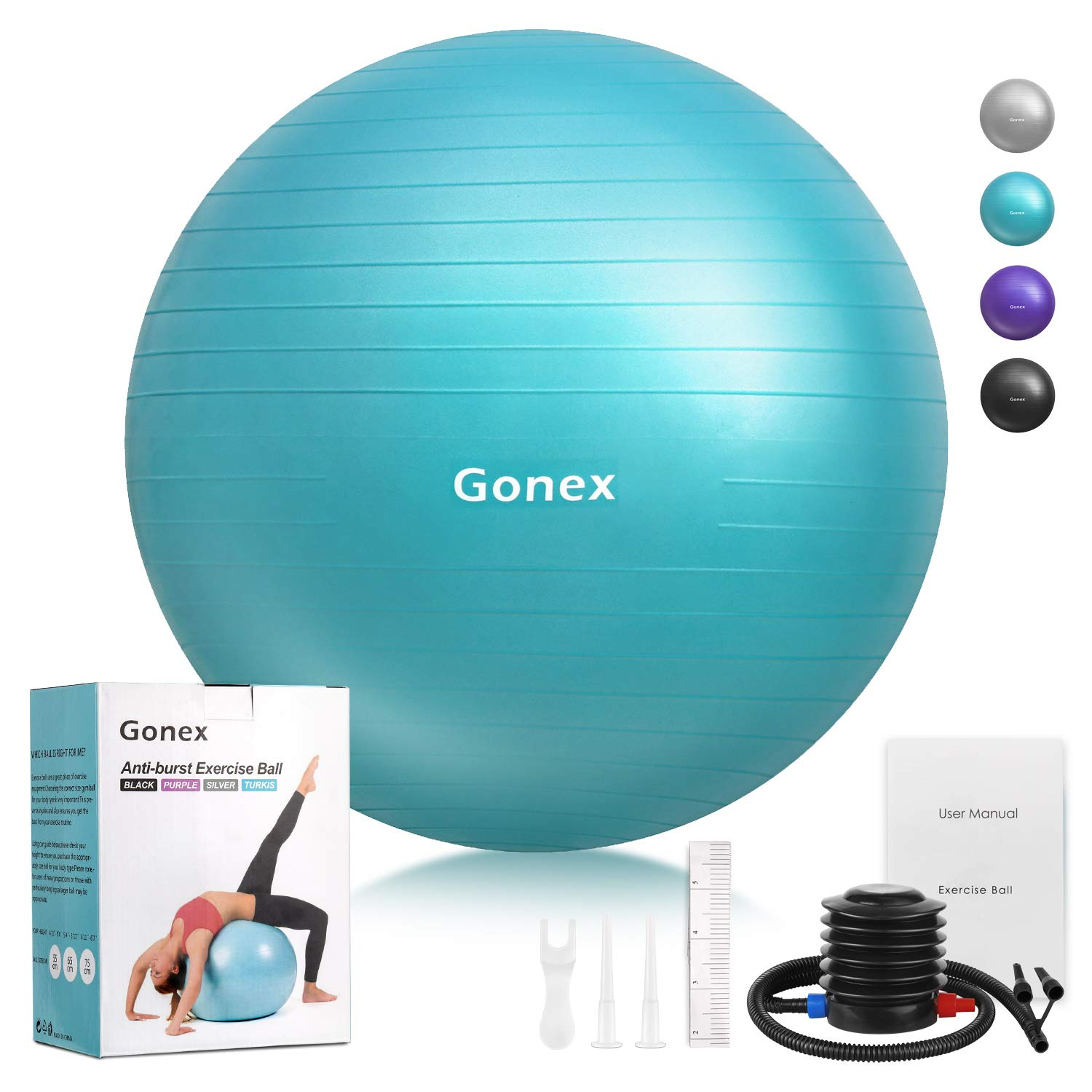 Gonex Exercise Workout Ball, 55 65 75 cm Anti-Burst Non-Slip Stability Balance Ball for Birthing, Yoga, Pilates, Desk Chairs, Fitness, Quick Pump Workout Guide Included