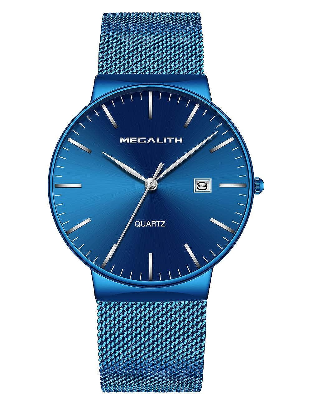 Relojes Hombre Relojes de Hombre Lujo Moda Impermeable Fecha Calendario Diseño Simple Analogicos Cuarzo Relojes de Pulsera de Malla de Acero Inoxidable Deportivo Negocio Casual