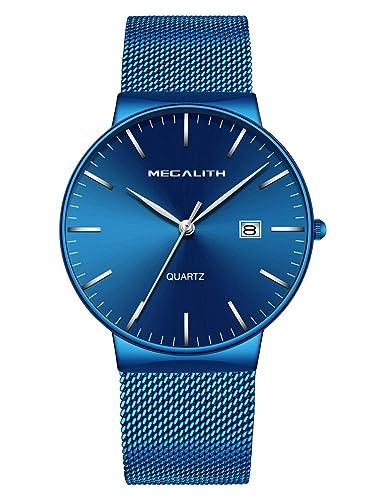Relojes de Hombre Relojes de Pulsera Deportivo Impermeable Azul de Malla Acero Inoxidable Reloj Hombre Fino Casuales Moda Simple de Analógico Calendario: ...