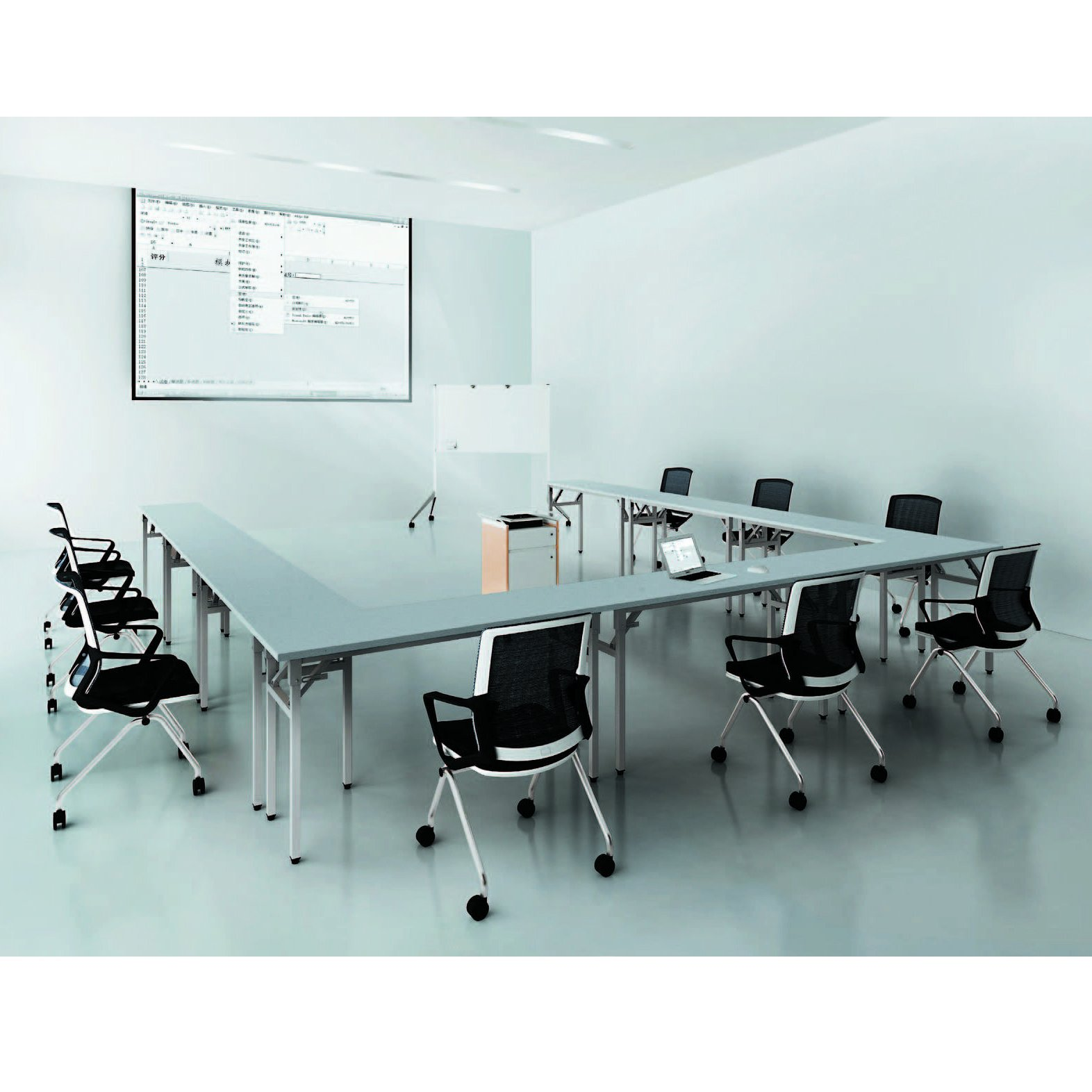 Sunon Folding Training Table 55'' Rectangle Wood Folding Table for Training/Meeting Room (White, 55-Inch Length) by Sunon (Image #7)
