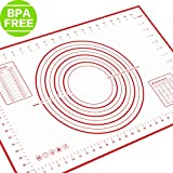 """PERNY Pastry Mat, 23.6"""" x 15.7"""" with Measurements and Conversion Charts, Silicone Pastry Mat for Rolling Dough"""