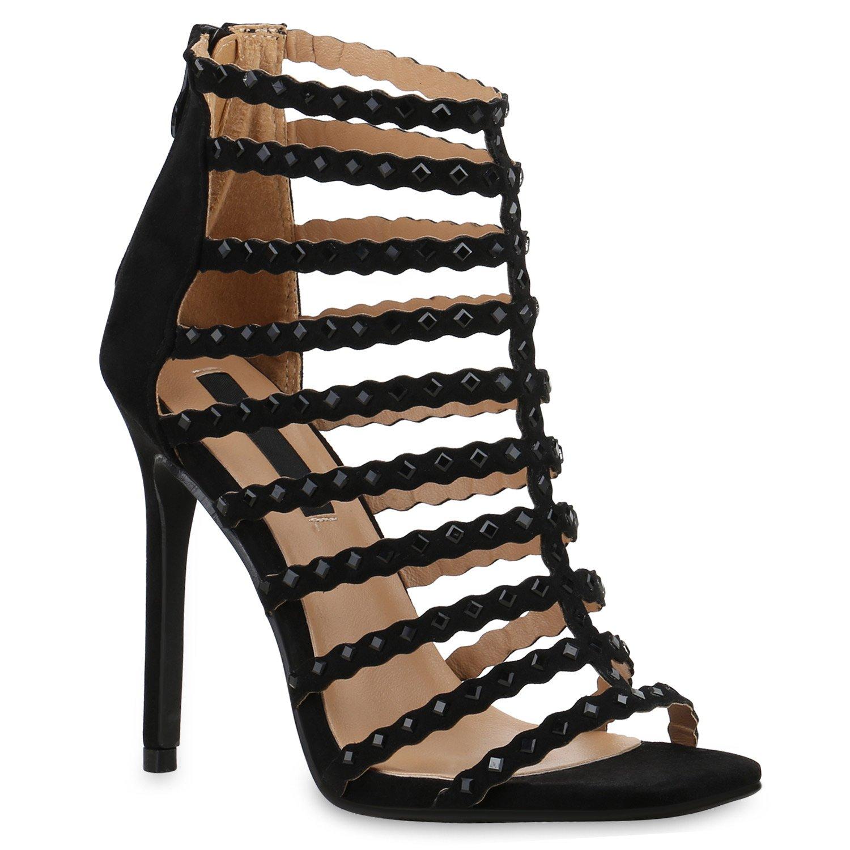 Stiefelparadies Damen Sandaletten High Heels mit Pfennigabsatz Strass Nieten Flandell Schwarz Strass Brito