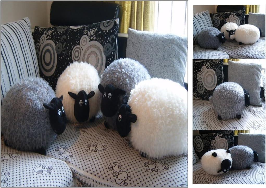Cojín de peluche con forma de oveja, color blanco