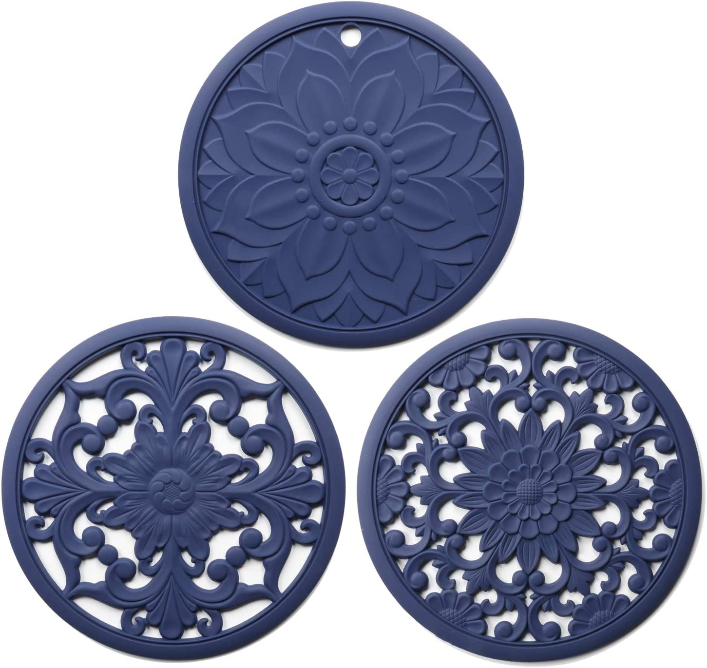 Silicone Trivet Mat 3 Set Intricately Carved Trivet Mat, Silicone Trivets for Hot Pods and Pans, Hot Dishes - No Slip & Heat Resistant Modern Kitchen Hot Pads for Countertop, Table (Blue)