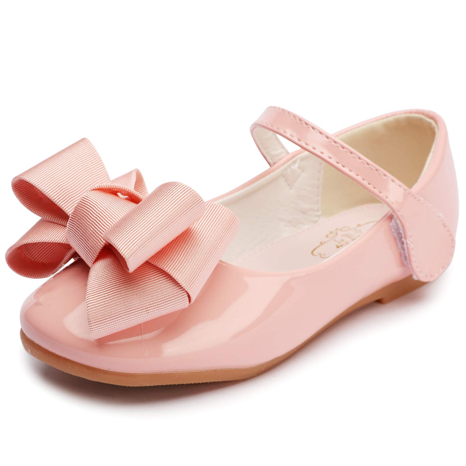 FLARY White//Gold Toddlers//Little Girls Ballet Strap Flat Mary Jane Dress Shoes with Bow