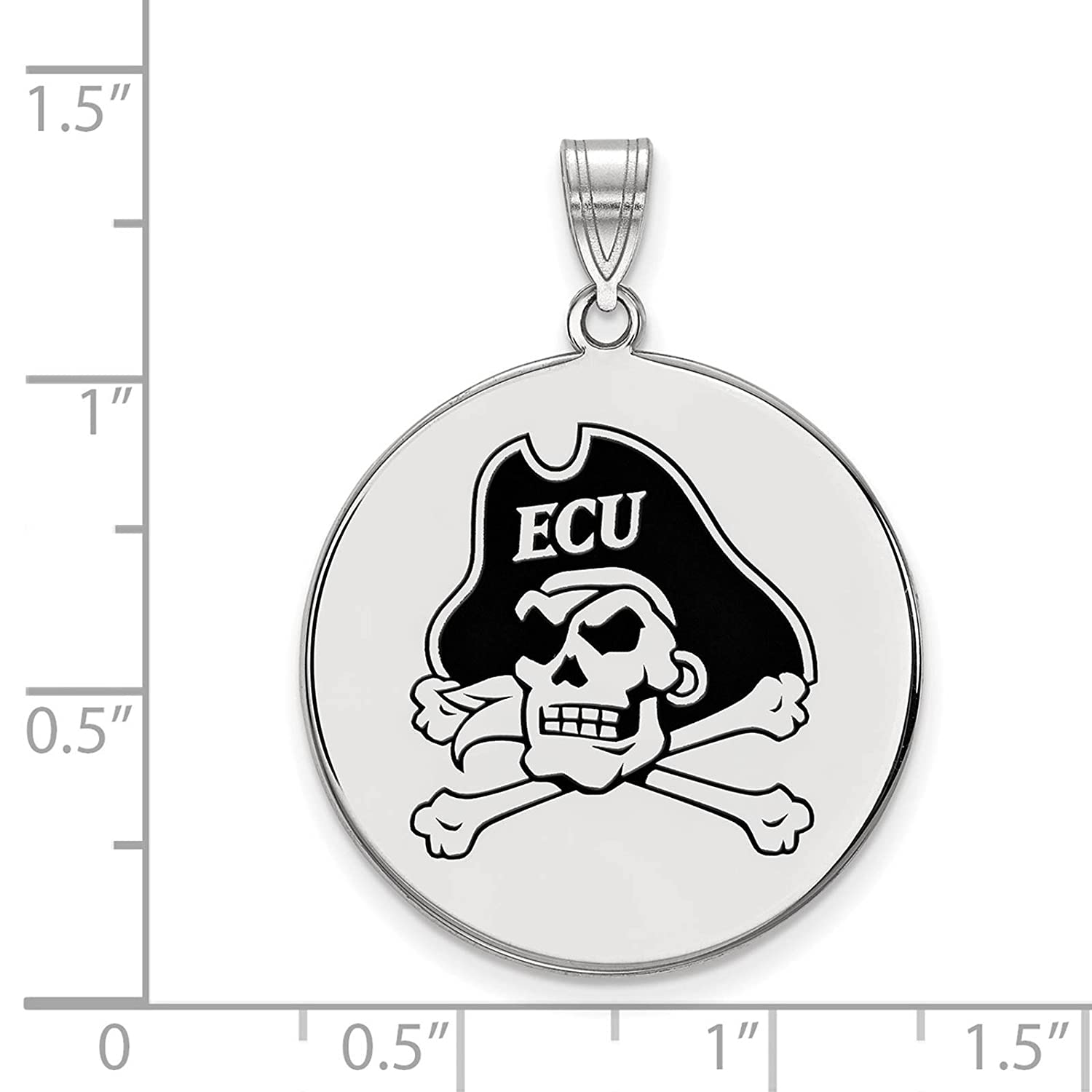 925 Sterling Silver Rhodium-plated Laser-cut East Carolina University XL Enameled Disc Pendant
