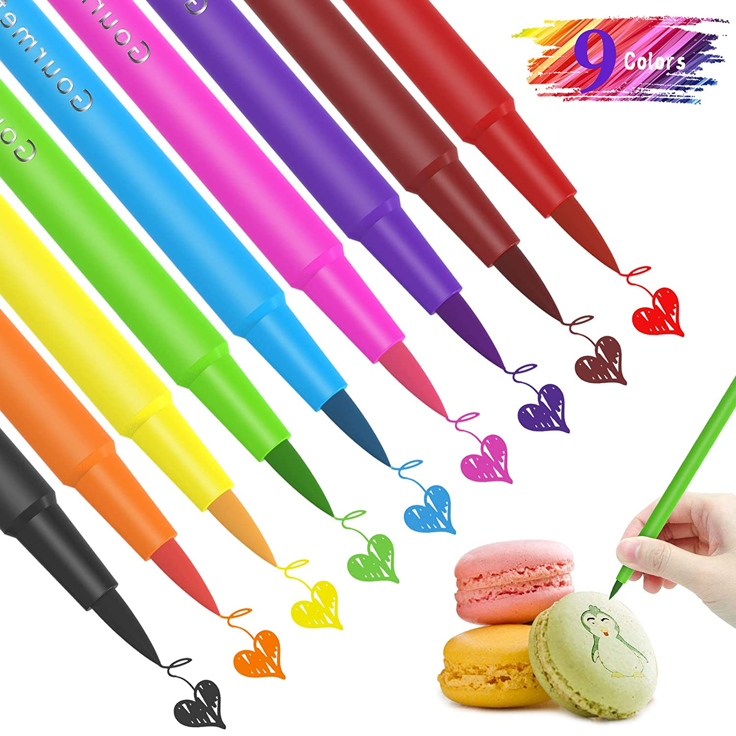 Food Coloring Marker Pens ValueTalks 9Pcs Edible Markers Food Grade Pens Double Use Like Fine Thick Tip,Gourmet Writers for DIY Decorating Fondant,Cakes,Cookies,Frosting,Marshmallows,Easter Eggs