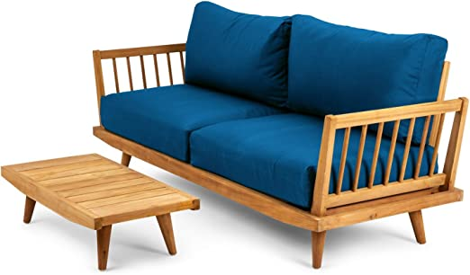 Chillvert - Conjunto Jersey Madera De Teka Fsc Formado Por Sofa 2 Plazas(173X66, 5X83 Cm + Mesa Baja(80X40X22 Cm): Amazon.es: Jardín