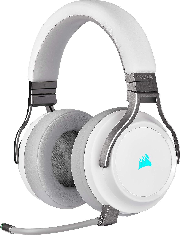 Corsair Virtuoso RGB Wireless SE Auriculares Alta Fidelidad Gaming (Sonido Envolvente 7.1, Micrófono Omnidireccional, para PC, Xbox One, PS4, Switch y Móviles) Blanco