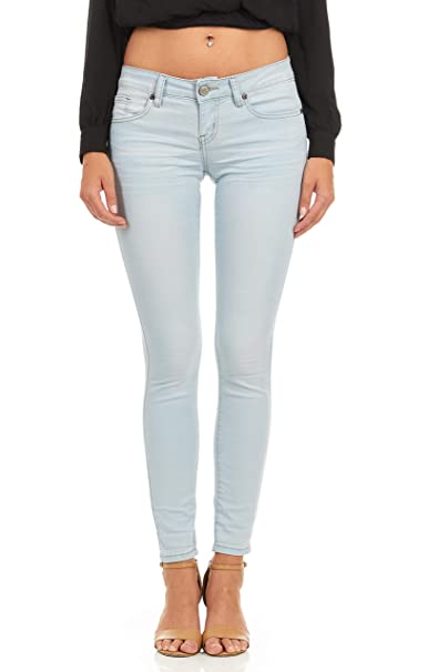 8a12094fdfe Cover Girl Basic Cuffed Skinny Jeans for Women Juniors Stretchy Denim Size  1 Light Blue