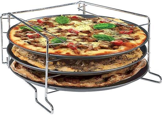 LGVSHOPPING Juego de cocción Pizzas 3 estantes con 3 bandejas Pizza y Soporte Horno Fuente 30 cm: Amazon.es: Hogar