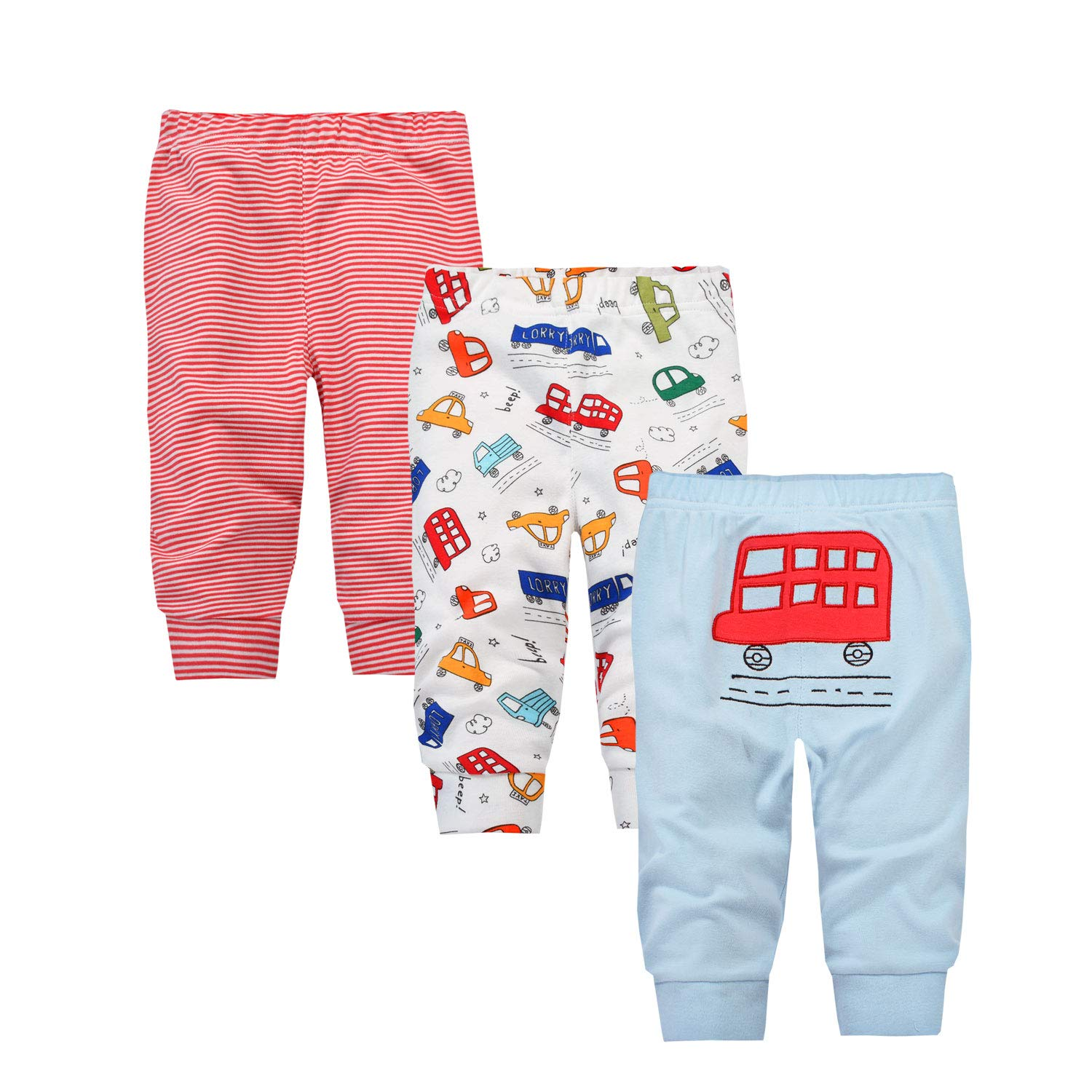 Baby Jogger Pants Flexy Adjustable Fit Knit for 6-36 Months 1-3 Packs