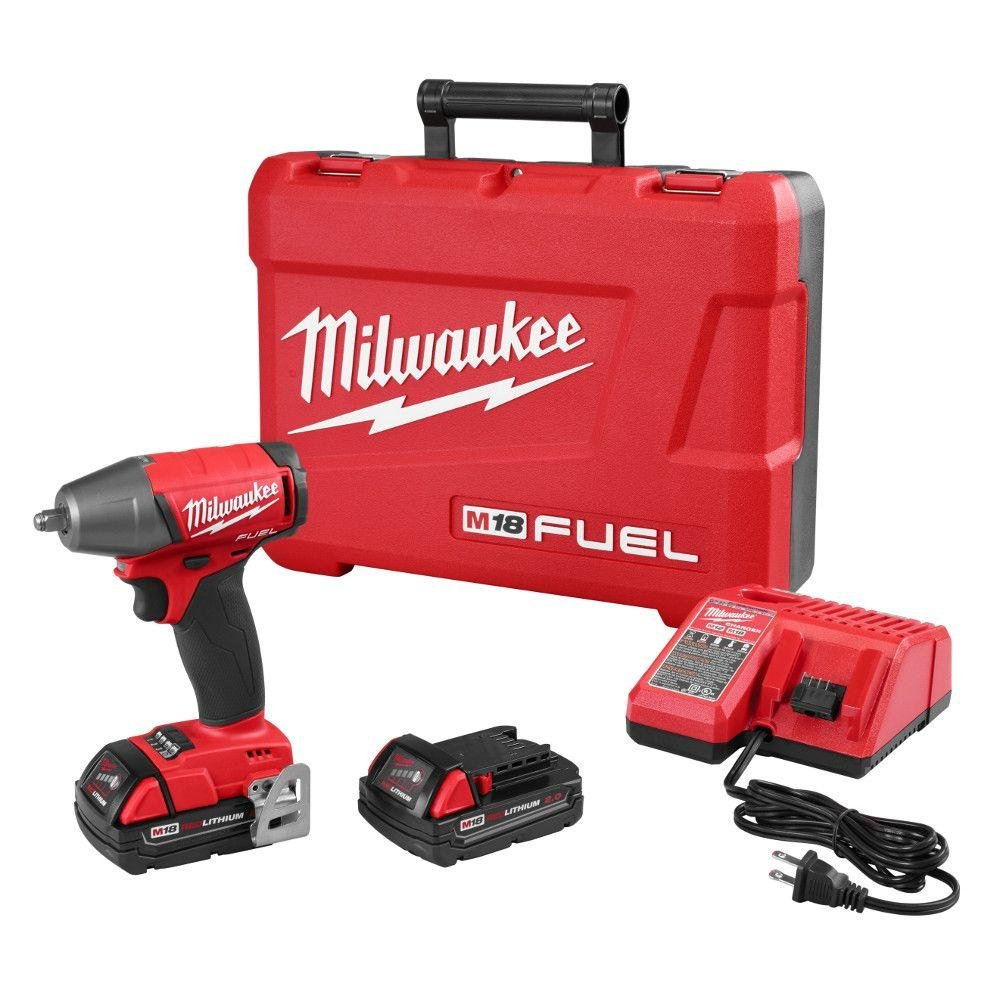 Milwaukee M18 FUEL 18-Volt Lithium-Ion Brushless 3/8 in. Compact Impact Wrench with Friction Ring Kit | Hardware Power Tools for Your Carpentry Workshop, Machine Shop or Jobsite Needs