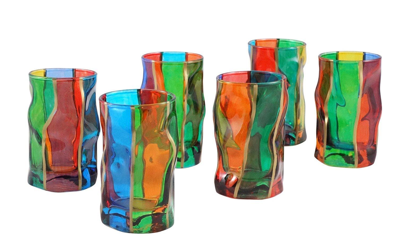 BICCHIERI SORGENTE LIQUORE Murano Glas Glasses Handpainted Venice Made Italy