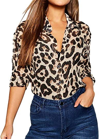 Camiseta de Mujer con Estampado de Leopardo y Cuello de