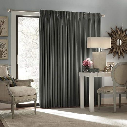 1Pieza 84 gris Color sólido cortina de puerta corredera, Gris puerta de cristal corredera Patio Panel de la puerta ventana solo Panel de tratamiento, cortinas de diseño moderno contemporáneo, espalda Tab poliéster: