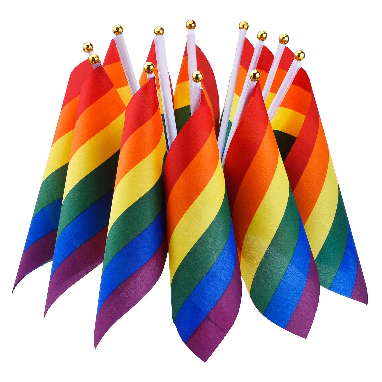 Hotop 12 Piezas Bandera de Arco Iris Bandera de LGBT de Paz de Lesbian Orgullo de Gay Bandera de Festival Carnaval