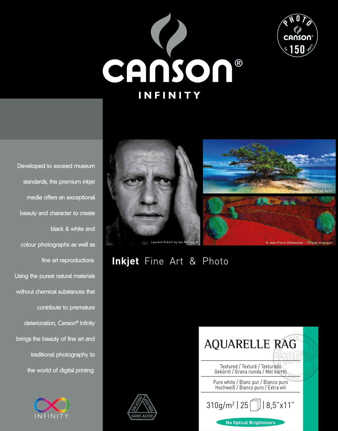 Canson Infinity Aquarelle Rag Fine Art Watercolor Paper, 8.5 x 11 Inch, White, 25 Sheets by Canson