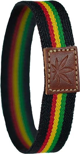 QUICKBOXX Pulsera Rasta Hippie Elástica en Tela con Dibujo Planta Jamaica en Cuero Bisuteria Mujer Hombre: Amazon.es: Joyería