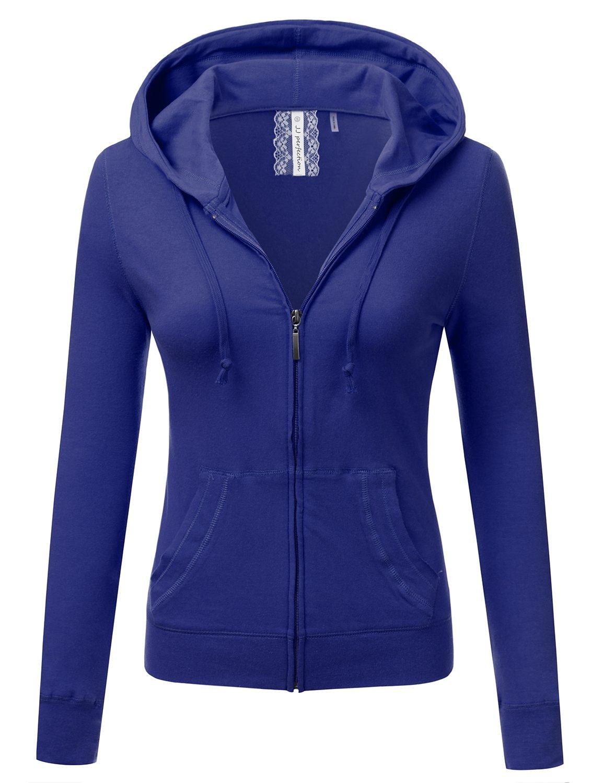 JJ Perfection Women's Slim Fit Lightweight Jersey Full Zip Hoodie Jacket Royal M