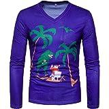 Zarupeng Männer Langarm V-Ausschnitt Hemd Herbst Winter Weihnachten  Sweatshirt T-Shirt a4bd7ed8ed
