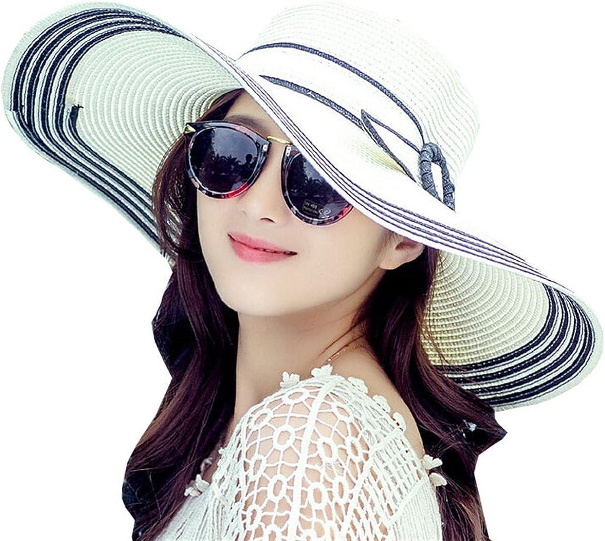 Women's Large Wide Brim Floppy Brim Summer Beach Sun Hat Foldable Straw Cap Party Garden Travel UPF40+ Sunscreen