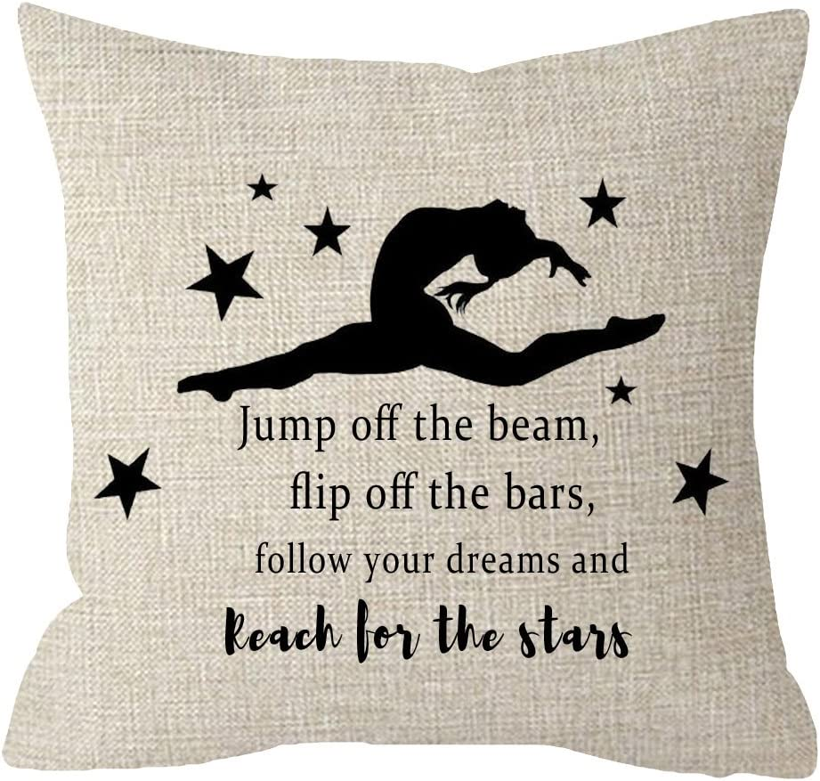 Girls Bedroom Gymnastics Gift Stars Jump off the beam flip off the bars follow your Dreams Couch Sofa Decorative Body Beige Cotton Linen Throw Pillow Case Cushion Cover Square 18 inches