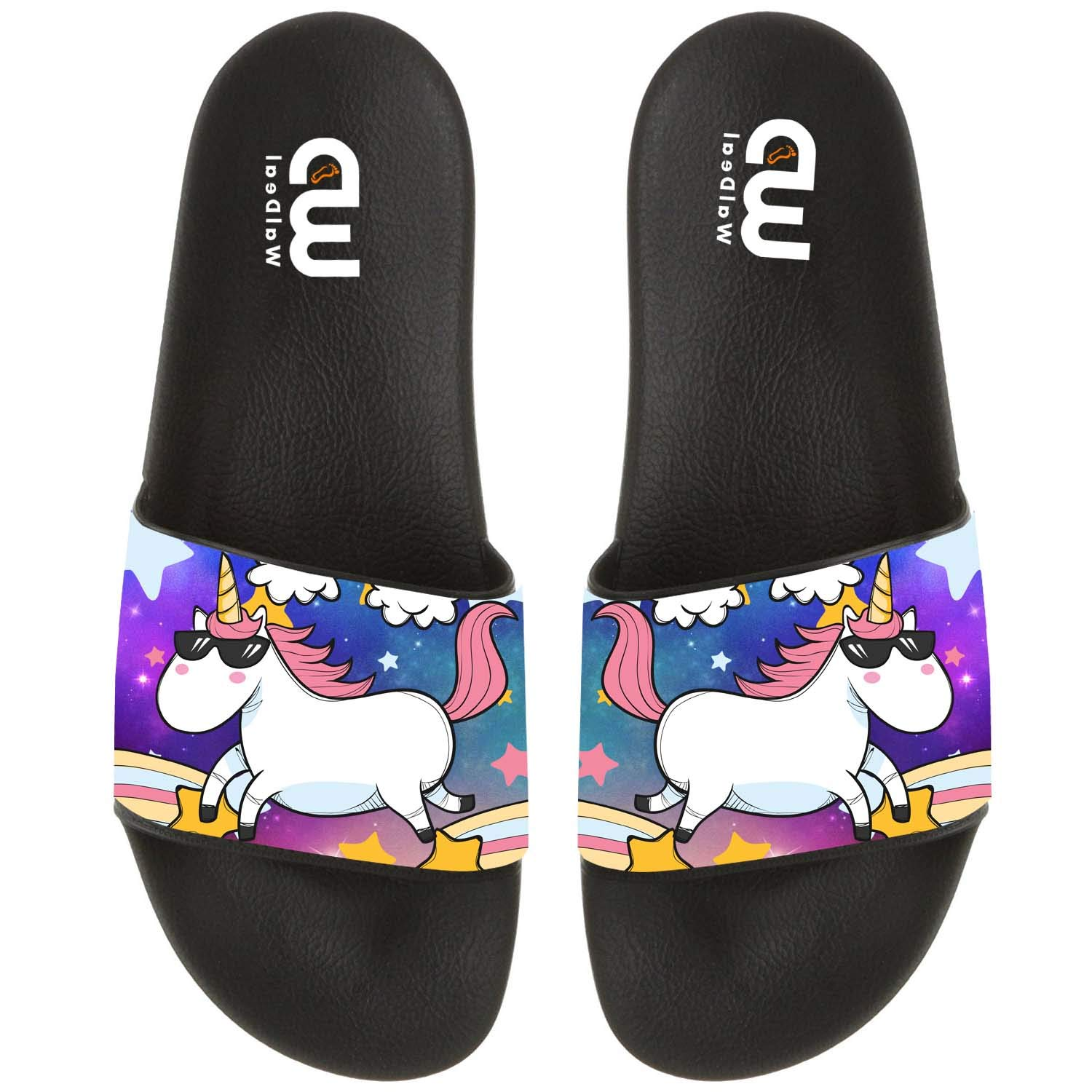 Cute Unicorn With Sunglasses Summer Slide Slippers For Girl Boy Kid Non-Slip House Sandal Shoes size 12