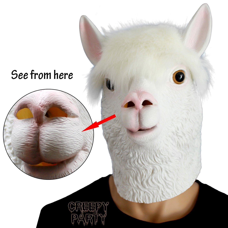 CreepyParty Novelty Halloween Costume Party Latex Animal Head Mask Alpaca White by CreepyParty