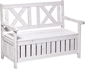 Outsunny 29 Gallon Garden Storage Bench with Waterproof Frame, Large Entryway Deck Box w/Unique X-Shape Back, Louvered Side Panels, White