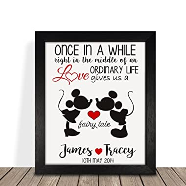 Personalized Presents Gifts for Him Her Husband Wife Couples Girlfriend Boyfriend Wedding Anniversary Valentines Day Christmas Xmas Disney Minnie Mickey Framed Prints Posters Idea