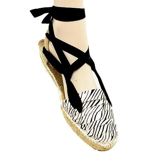 Espardenya.cat Alpargatas Zebra con Suela de Goma y Yute - Cebra, 40: Amazon.es: Zapatos y complementos