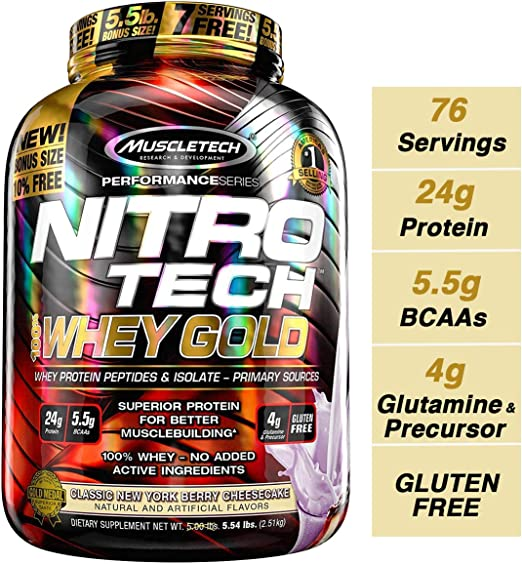 Muscletech Performance Series Nitrotech Whey Gold (Whey Protein Peptides & Isolate, 24g Protein, 5.5g BCAAs, Gluten Free, Post-Workout) - 5.54lbs (2.51kg) (Classic New York Berry Cheesecake) Whey  at amazon