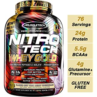 Muscletech Performance Series Nitrotech Whey Gold (Whey Protein Peptides & Isolate, 24g Protein, 5.5g BCAAs, Gluten Free, Post-Workout) - 5.54lbs (2.5 at amazon