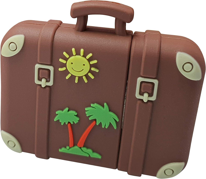 Maleta Retro Vintage Sol y Palmera Viajar 16 GB - Travel Suitcase - Memoria Almacenamiento de Datos – USB Flash Pen Drive Memory Stick - Diseño único y Original