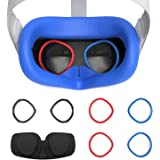AMVR VR Silicone Face Cover & Lens Anti-Scratch Ring Protecting Myopia Glasses from Scratching VR Lens for Oculus Quest 2, Sw