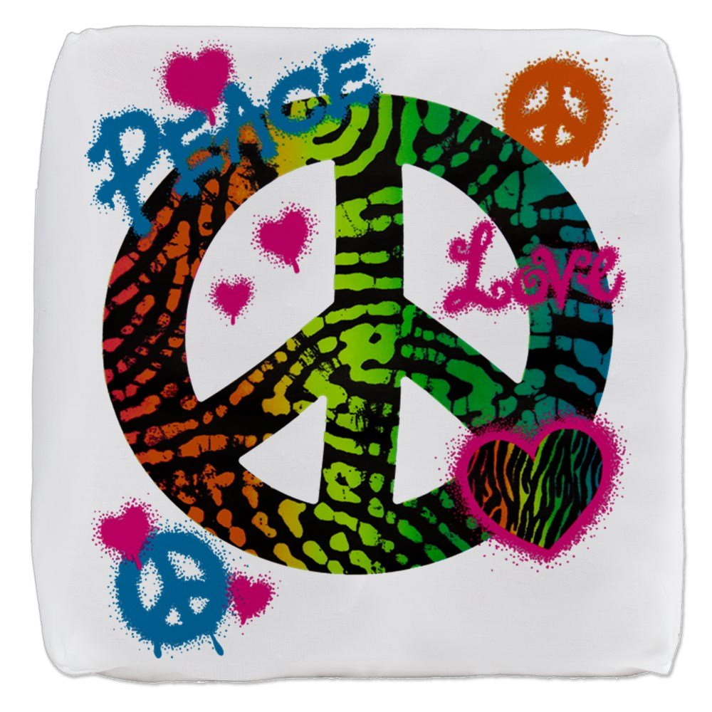 13 Inch 6-Sided Cube Ottoman Peace Love Rainbow Peace Symbol by Royal Lion (Image #1)