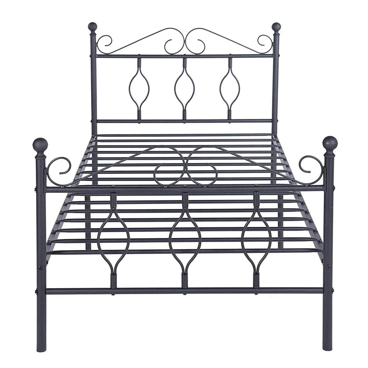 Green Forest Twin Bed Frame Metal Platform Complete Bed with Vintage Headboard and Footboard Box Spring Replacement Steel Slats Bed, Matte Black Twin