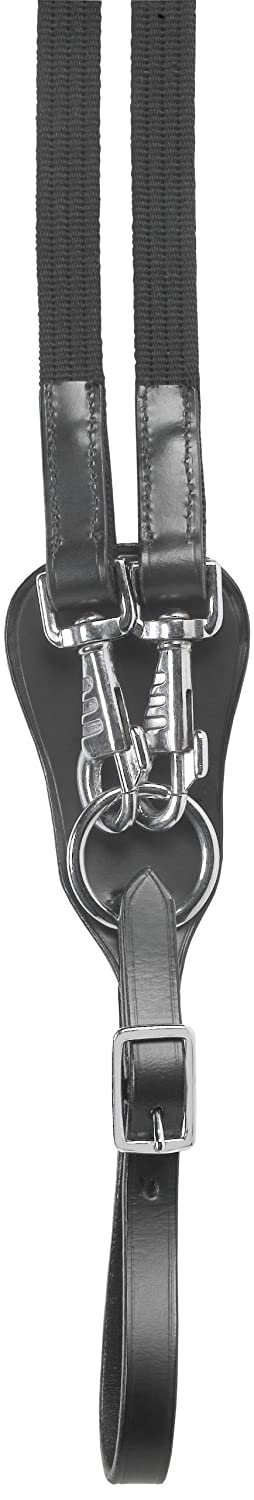 USG Web Draw Reins with Silver Buckles, Black