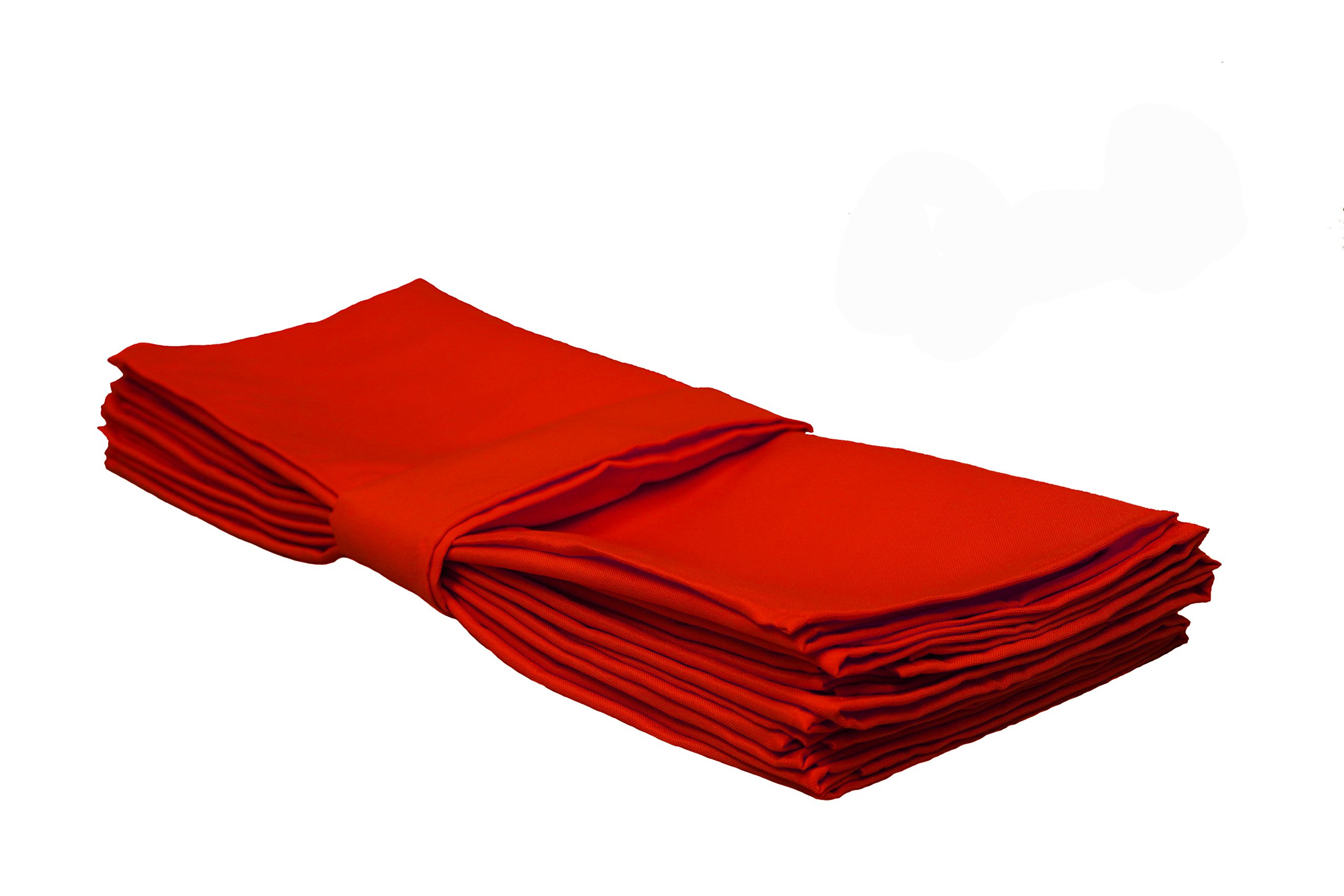 YCC Linen - 20 Inch Square Premium Polyester Cloth Napkins 10 Pack - Red, Oversized, Double Folded and Hemmed Table Napkins for Restaurant, Bistro, Wedding, Thanksgiving and Christmas by Your Chair Covers (Image #2)