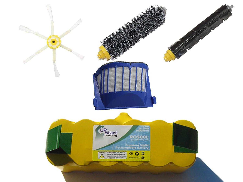 iRobot Roomba 595 Pet Series Battery, Filter, Bristle Brush, Flexible Beater Brush and 6-Arm Side Brush - Kit Includes 1 Battery, 1 AeroVac Filter, 1 Bristle Brush, 1 Flexible Beater Brush and 1 6-Arm Side Brush Upstart Battery