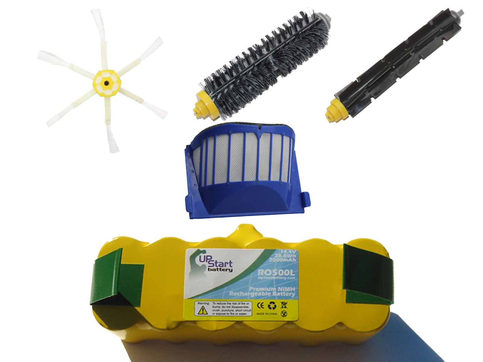 Replacement for Roomba 595 Pet Series Battery Filter Brush - Kit Includes 1 Battery 1 AeroVac Filter 1 Bristle Brush 1 Flexible Beater Brush and 1 6-Arm Side Brush