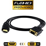 VAlinks Active HDMI Male to VGA Male D-SUB 15 Pin M/M Video Converter Cable Gold Plated Adapter Support Full 1080P Convert Signal from HDMI Input Laptop HDTV to VGA Output Monitors Projector-1.8m/6ft