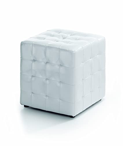 Puff cuadrado puf pouf brillante , color blanco: Amazon.es: Hogar