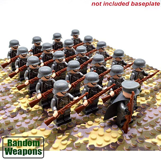 21pcs//set WW2 Military German Troops Army Soldiers with weapons Minifigures Toy