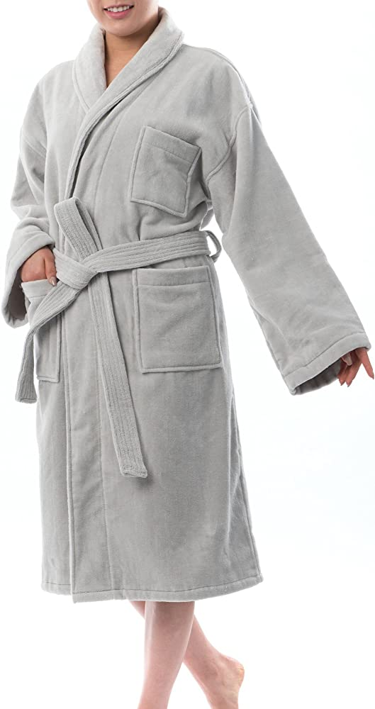 Alpine Swiss Blair Womens Cotton Terry Cloth Bathrobe Shawl Collar Velour Spa Robe Gry Sm Gray At Amazon Women S Clothing Store