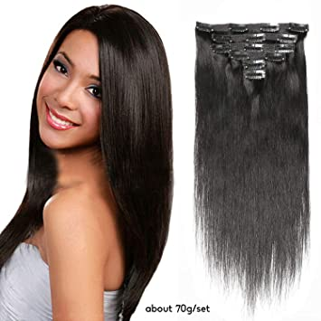 HEBE 14 quot  Real Human Hair Clip in Extensions Full Head Double Weft  Straight Clip in e91befc10