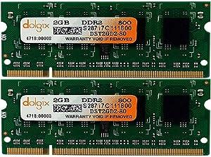 DOLGIX 4GB Kit (2x2GB) DDR2 800MHz (PC2-6400) SODIMM 200-Pin 1.8v Memory Modules Upgrade for Mac Apple