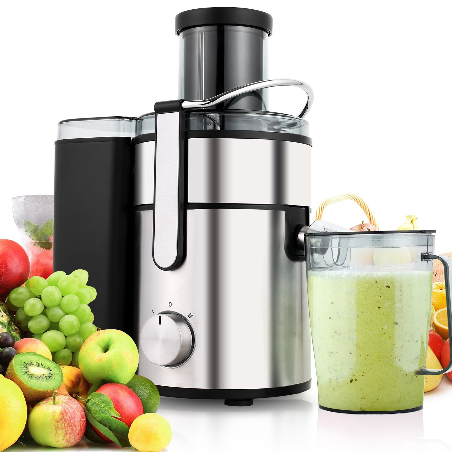 Juicer Juice Extractor, 80mm Wide Mouth Stainless Steel Centrifugal Juicer, BPA-Free, Non-Slip Feet, Three Speed Juicer Machine for Fruits and Vegetable
